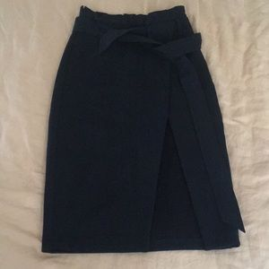 Topshop heavy wrap midi skirt
